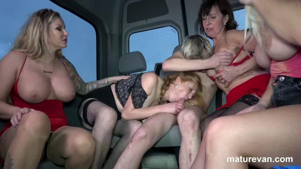 MatureVan 1 young cock versus 4 mature